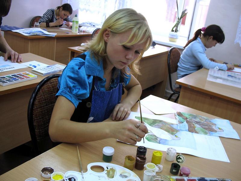 Painting class, Nar'yan-Mar Boarding School.