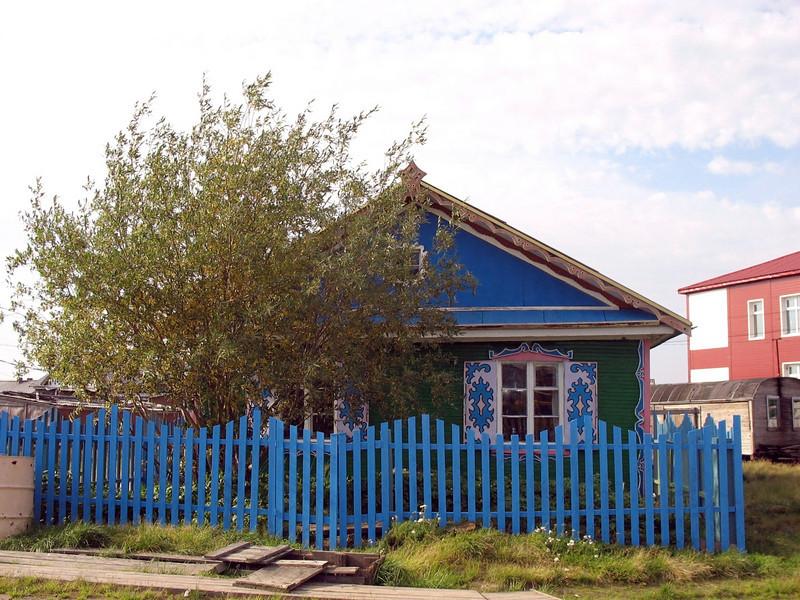 Blue home in Karatayka, Russia.