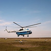 Dropped off in Karatayka, our helicopter immediately leaves for other tundra destinations.