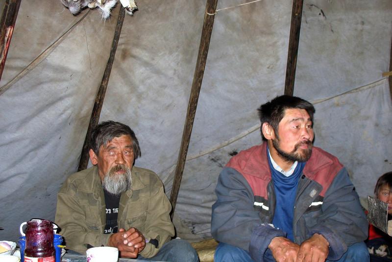 Nenets reindeer herders. Tea time inside the chum (tent). Karatkaya region reindeer cooperative.