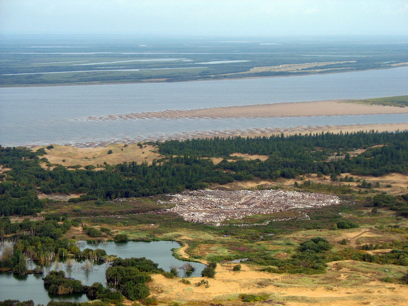 View of the Pechora River leaving Nar'yan-Mar by helicopter, again.
