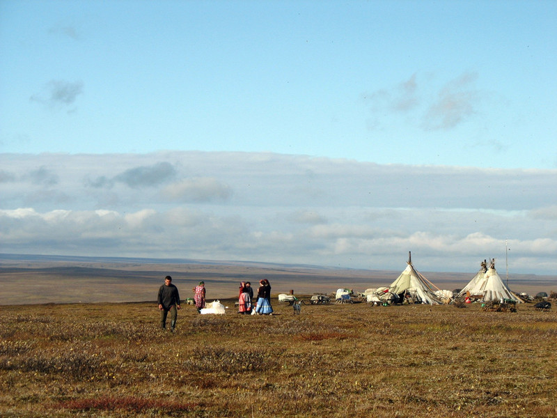 Approaching the current location of the Nenets Yamp-to clan by helicopter, about 500km from the capital of Nar'yan-Mar. A nomadic people,the location is temporary. (Amderma, Kara Sea region - Russia)