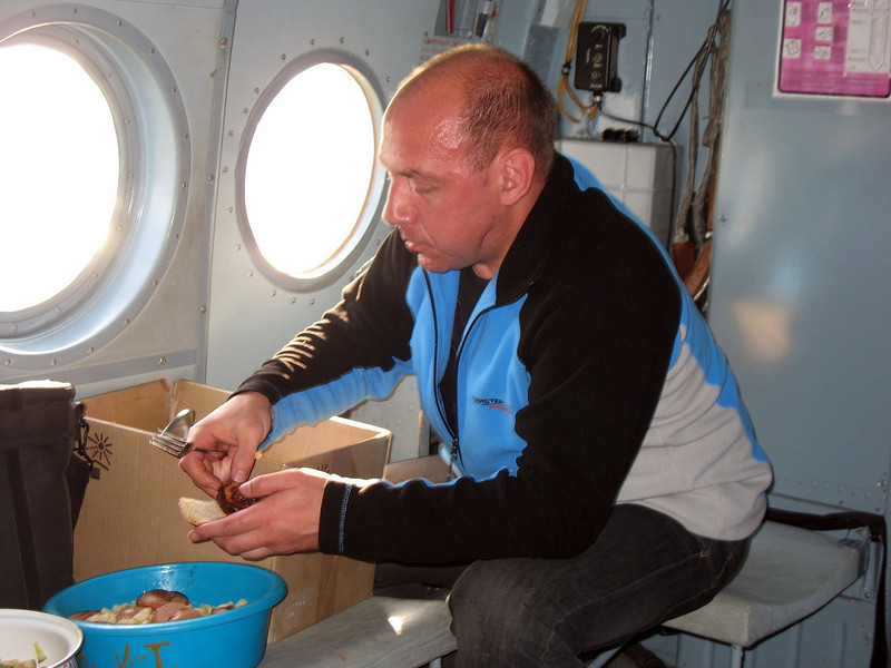 Eating pickled mushrooms on the helicopter.