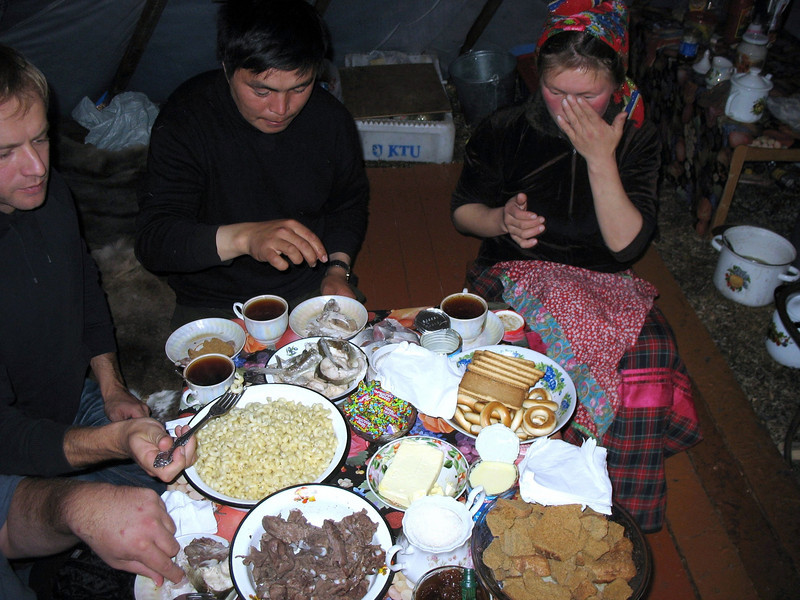 Lunch - reindeer meat, salted fish, macaroni, strong tea...