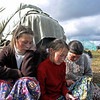 Yamp-to Nenets girls & woman sewing on the tundra.