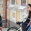 Girls on their bikes in Vladikavkaz. Looks as if one's received some disturbing news.