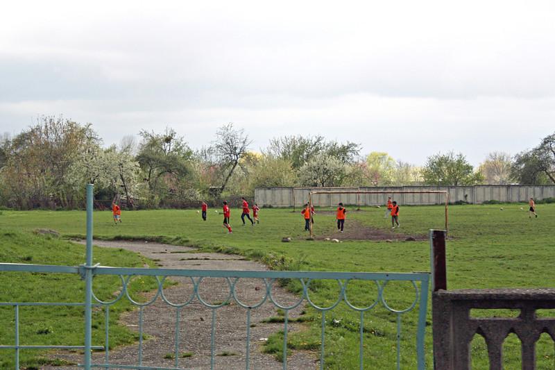 Soccer game in progress.