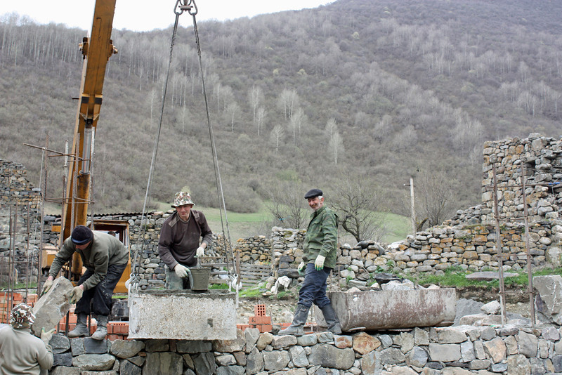 Repair work being done at the monastery.