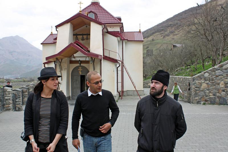 Madina & Bashar with priest. Корреспонденты с благочинным монастыря.