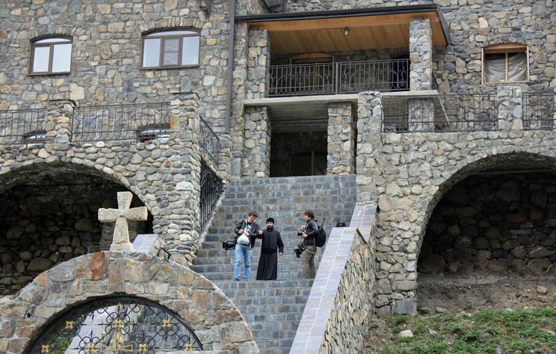 Descending the steps of the Alansky Epiphany Monastery.