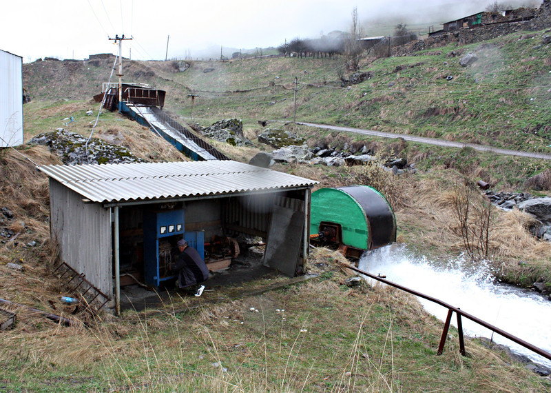 A homemade hydro-power plant known as the 'free-flow wheel' by its creator, Ahshar Varziev.