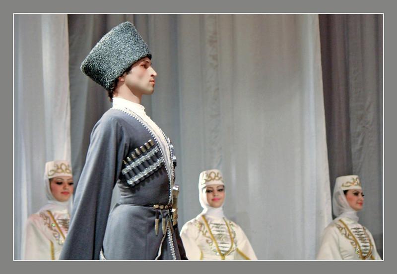 Dancers of North Ossetia's award winning folk dance ensemble, Iriston, in traditional Caucasian (from the Caucasus Mountains) dress performing a wedding dance in Vladikavkaz.