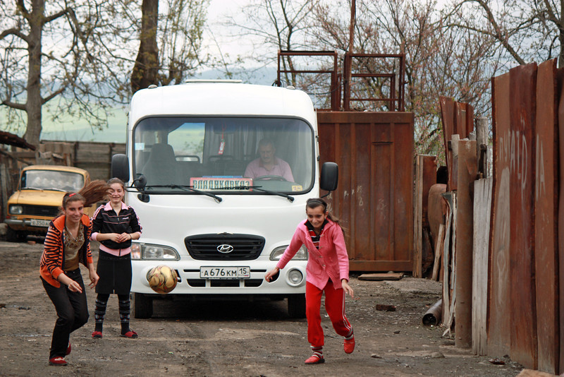 Girls playing ball at the Kambileevskoe refugee camp.