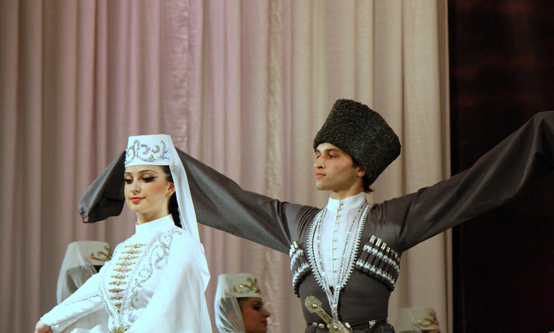 The Ossetian dance ensemble, Iriston, performing a traditional wedding dance.