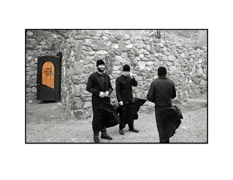Orthodox Priests at the Alansky Epiphany Monastery in Kurtatin Gorge.