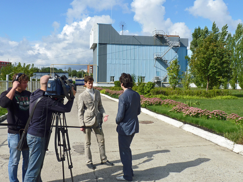Ogorodnev conducting interview outside CardiaMed.