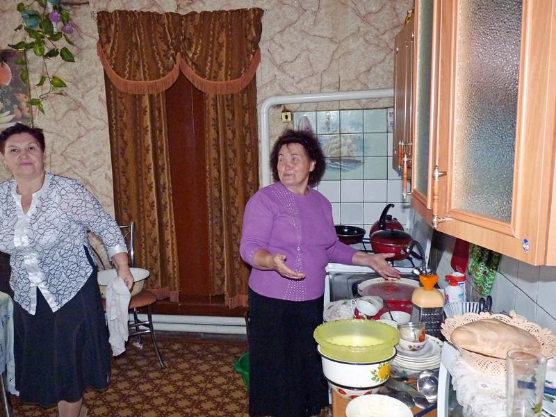 Preparing food for Mariam's birthday.