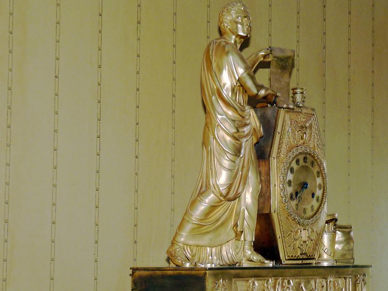 Golden clock at the Tarkhany estate.