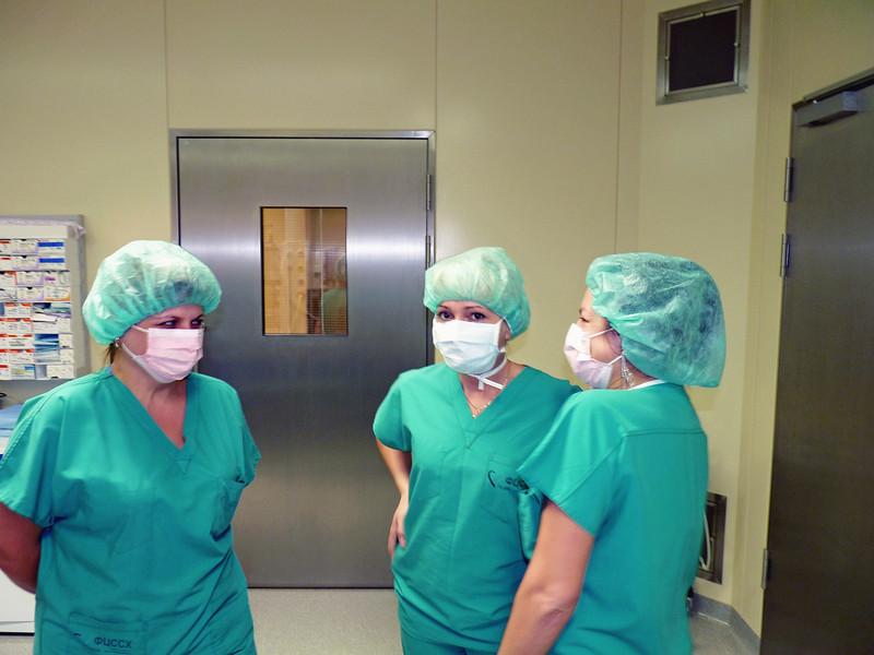 Nurses outside the operating room.