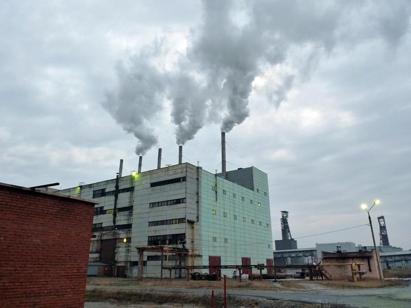 The Silvinit plant outside Solikamsk. The company produces fertilizers.    Дыхание большой индустрии.