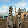 In the small village of Parmailovo, the home/museum and sculptures of local craftsman, Yegor Utrobin. (Perm Region, Russia)