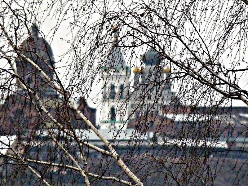 Kungur churches through the birches. (Perm Region, Russia)