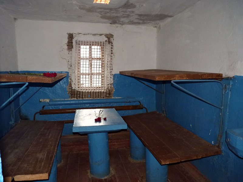 If you went against the rules or caused problems, these would be your quarters. Notice that someone has placed roses on the left upper bunk.