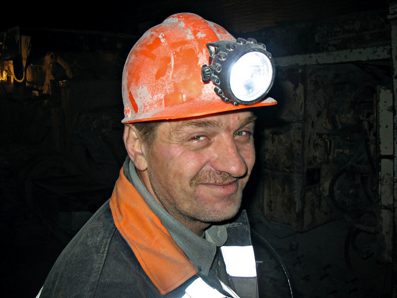 Russian miner. About 370 meters (1230 feet) underground, mining the world's 2nd largest deposit of potassium and magnesium salts. (Solikamsk, Perm Region, Russia)