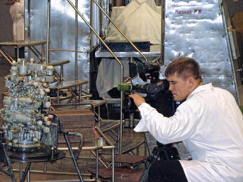 RT cameraman, Dmitry Belyansky, shooting at Perm Motors Company.