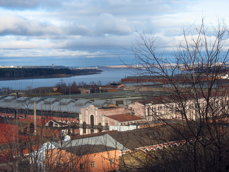 View of the Kama River with Motovilikha armaments factory in the foreground. The factory is more than 270 years old.  (Perm, Northern Urals, Russia)