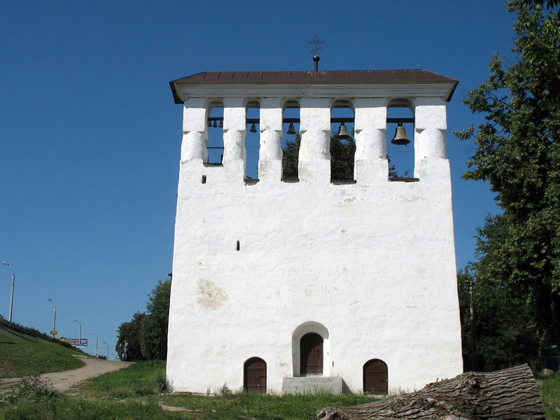 Freestanding bell tower.