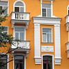 Renovated Pskov apartment building. Stalinist architecture.