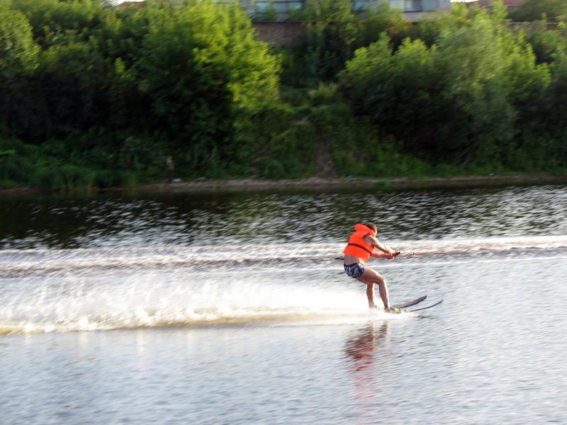 Water skiing on the Velikaya River. (Pskov)