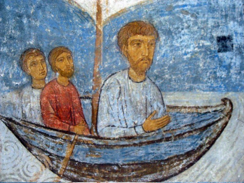Fresco of The Apostles in their travels. Transfiguation Church, Mirozh Monastery.