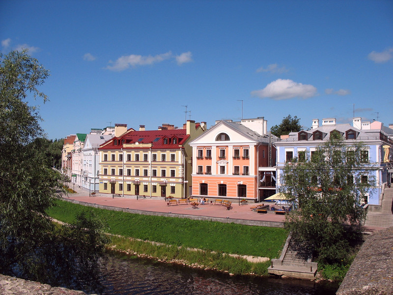View of our hotel, the orange building, as seen from the bridge.
