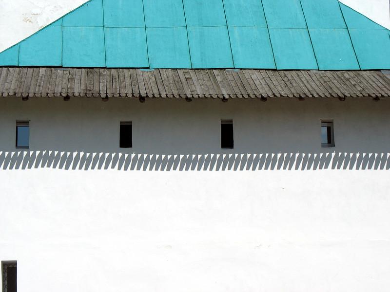 Shadows inside Pskov Kremlin.