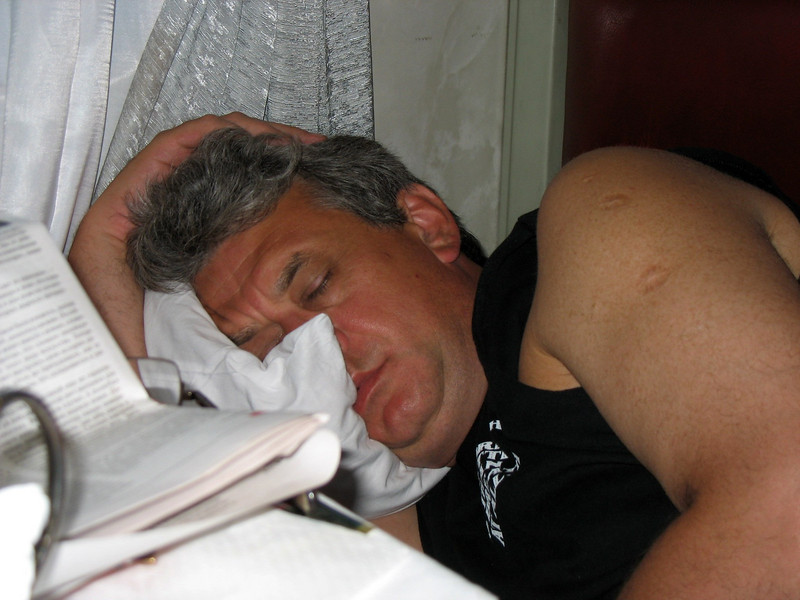 """An exhausted Rustem collapsed almost immediately on the train home. Didn't sleep through the night though due to a """"scandal"""", but that's another story..."""