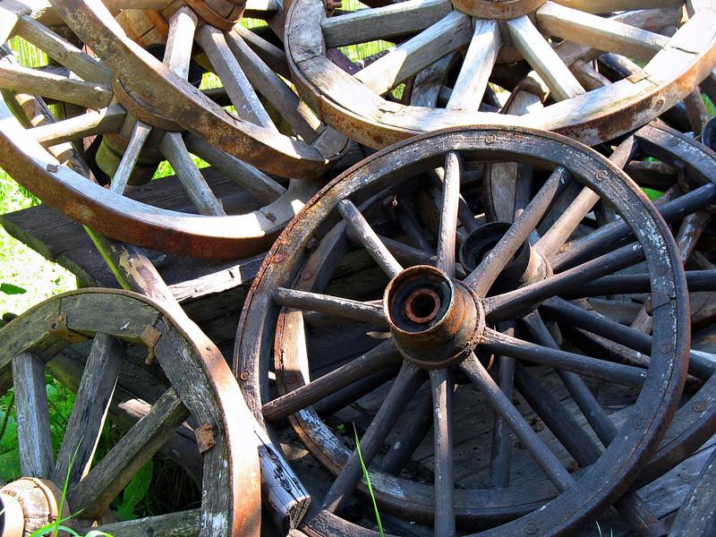 Old wagon wheels.
