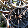 Old wagon wheels.