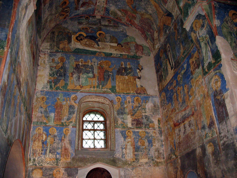 Magnificent Byzantine frescoes in the 12th century Transfiguration Church of the Mirozh Monastery.