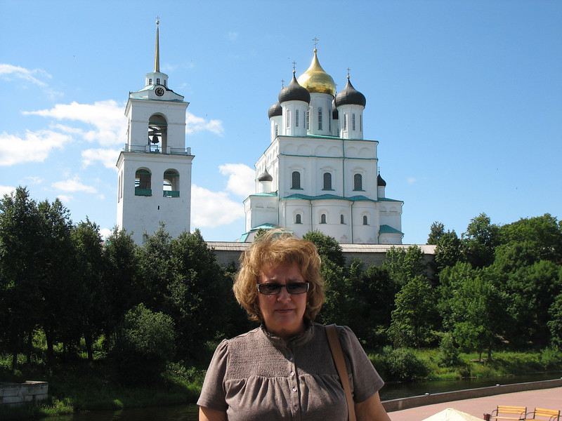 Standing in front of our hotel with Trinity Cathedral & Bell Tower in the background.
