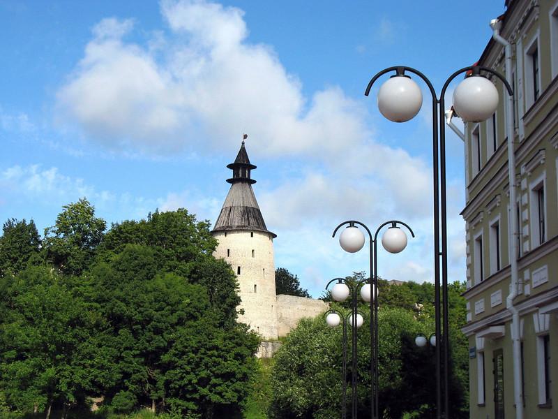 Pskov Kremlin tower from the embankment.