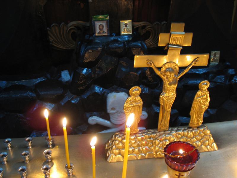 Skull & cross bones behind Christ. Trinity Cathedral. Pskov