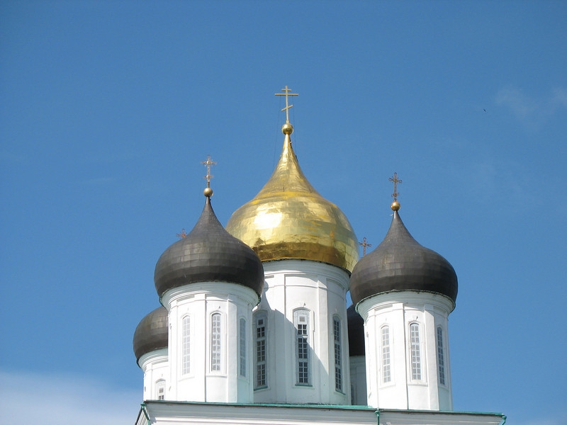 Domes of Pskov's masterpiece, The Trinity Cathedral.