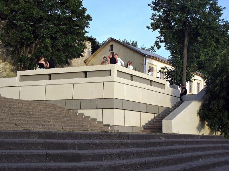 Steps down to the Velikaya River embankment.