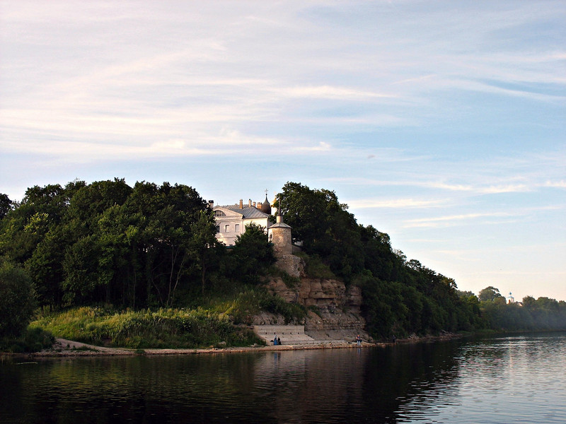 View of the Mirozh Monastery from the Velikaya River.