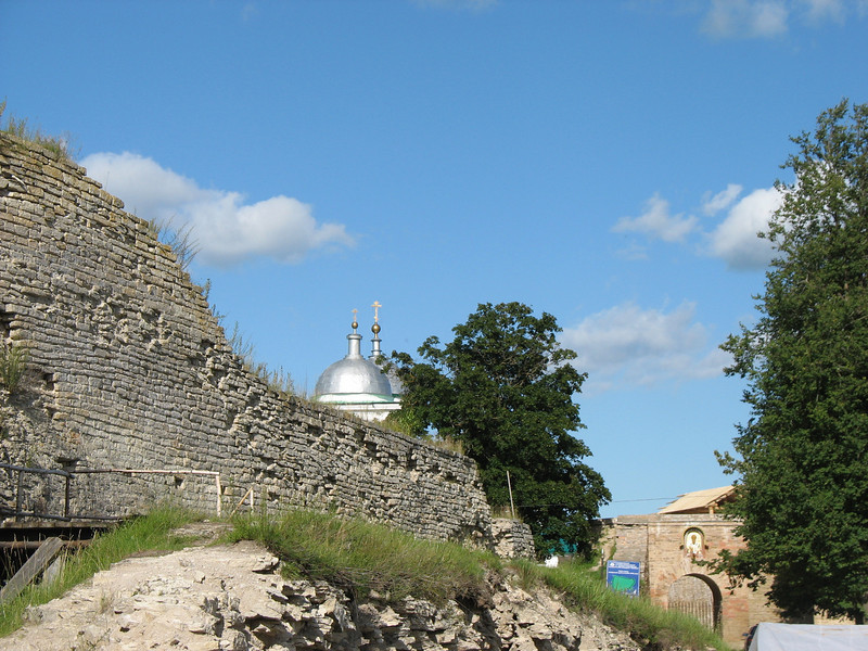 Approaching the entrance to the Izborsk Fortress. Thirty kilometers west of Pskov, the fortress is 1500 years old.