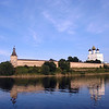 Velikaya reflection. Pskov Kremlin & Trinity Cathedral.