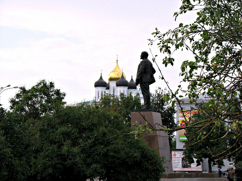 Lenin & Cathedral domes through the trees.
