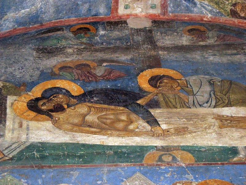 Jesus & Mary fresco. Transfiguation Church. Mirozh Monastery. (Pskov)